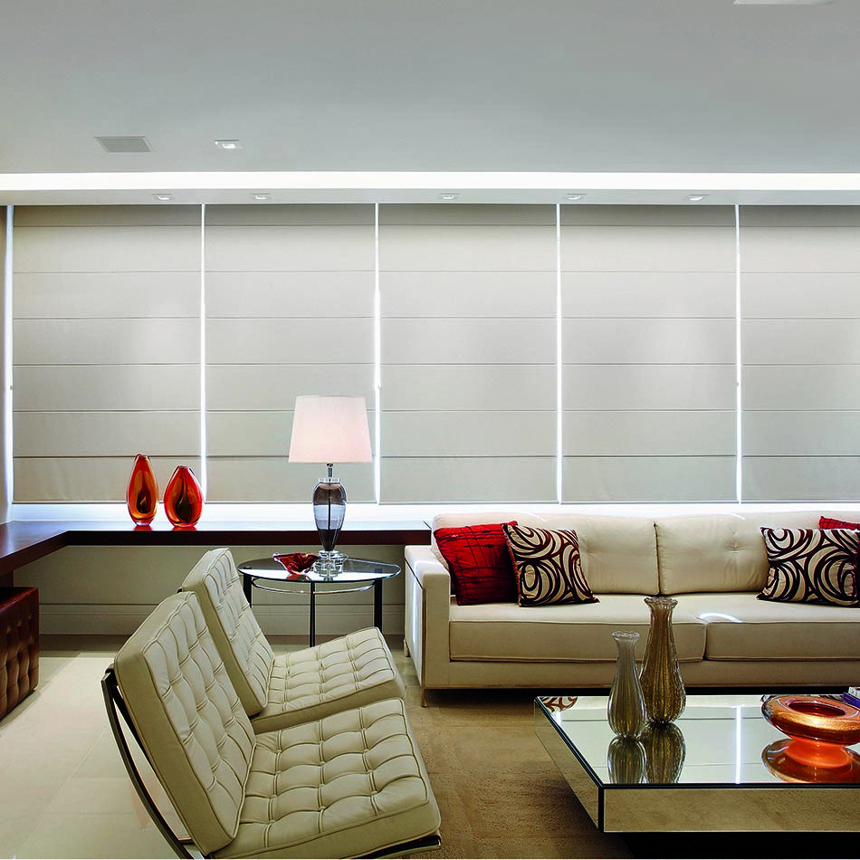 Persiana Romana Sunset Branco Polar 1,60 x1,60 - Hunter Douglas