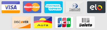 Visa, MasterCard, American Express, Diners Club, Elo, Discover, Aura, JCB e Boleto Bancário